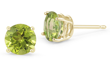 7mm Push-Back Peridot Stud Earrings, 14K Yellow Gold