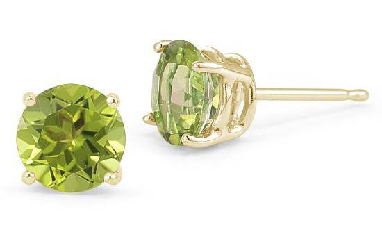Peridot Stud Earrings, 14K Yellow Gold