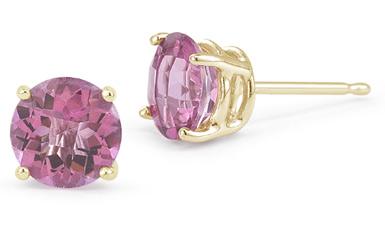 Pink Sapphire Stud Earrings, 14K Yellow Gold