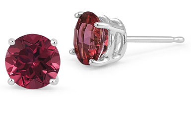 Ruby Stud Earrings, 14K White Gold