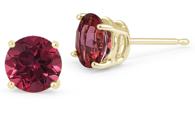 5mm Push Back Ruby Stud Earrings, 14K Yellow Gold