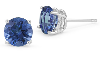 4mm Push Back Sapphire Stud Earrings, 14K White Gold