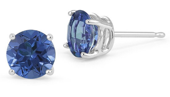 Sapphire Stud Earrings, 14K White Gold