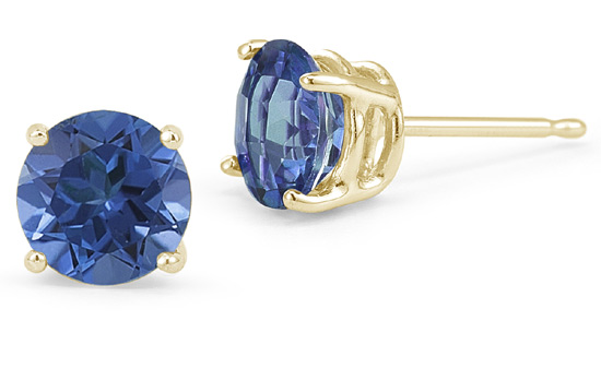 Sapphire Stud Earrings, 14K Yellow Gold
