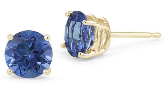 4mm Sapphire Stud Earrings in 14K Gold w/ Screw-Back Posts