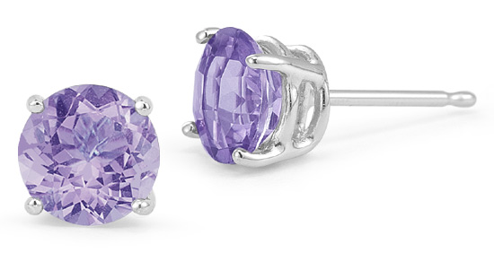 Tanzanite Stud Earrings,14K White Gold