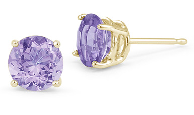 Tanzanite Stud Earrings, 14K Yellow Gold