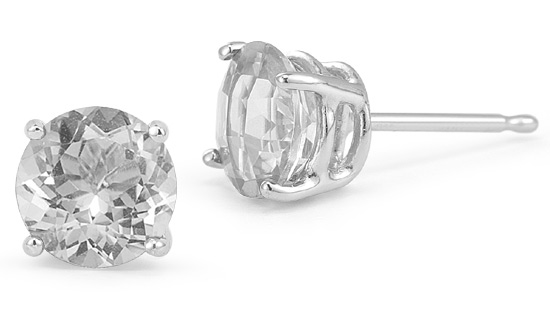 White Topaz Stud Earrings, 14K White Gold
