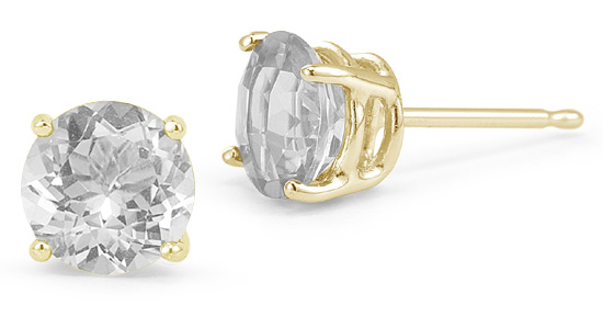 White Topaz Stud Earrings, 14K Yellow Gold