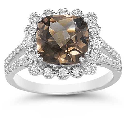Cushion-Cut 3.52 Carat Smoky Topaz and Diamond Ring
