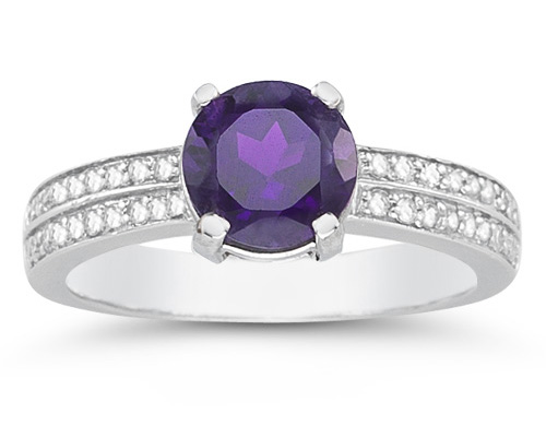1.55 Carat Amethyst and Diamond Ring in 14K White Gold