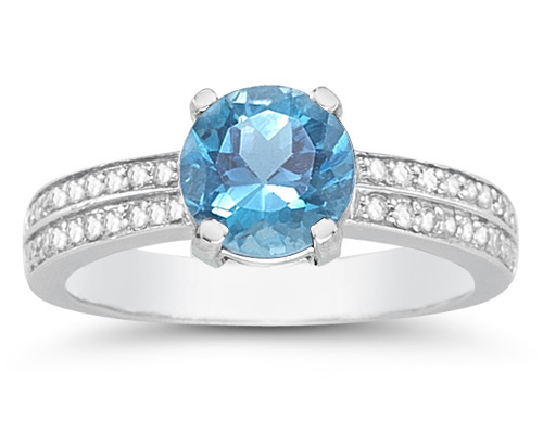 1.55 Carat Blue Topaz and Diamond Ring