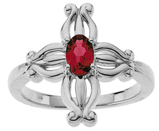 Insignia Ruby Cross Ring in 14K White Gold
