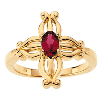 Insignia Ruby Cross Ring in 14K Gold