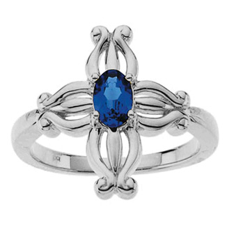 Insignia Sapphire Cross Ring in 14K White Gold