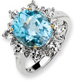 Sky Blue and White Topaz Ring, Sterling Silver