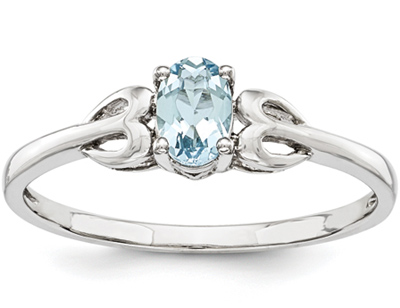 Genuine Aquamarine Heart Entwined Ring in Sterling Silver
