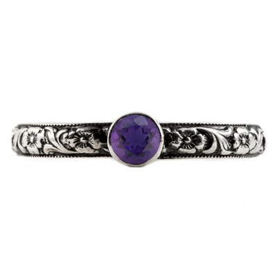 Handmade Paisley Floral Amethyst Engagement Ring, Sterling Silver
