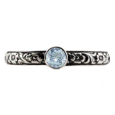 Handmade Paisley Floral Aquamarine Engagement Ring, Sterling Silver
