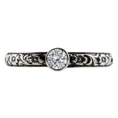 Handmade Paisley Floral White Topaz Engagement Ring, 14K White Gold