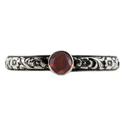Handmade Paisley Floral Garnet Engagement Ring, 14K White Gold