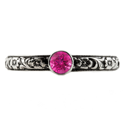Handmade Paisley Floral Pink Topaz Engagement Ring, 14K White Gold