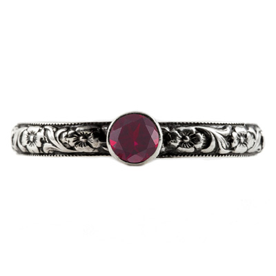 Handmade Paisley Floral Ruby Engagement Ring, 14K White Gold