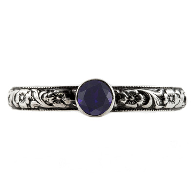 Handmade Paisley Floral Sapphire Engagement Ring, 14K White Gold
