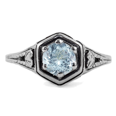 Heart Design Vintage Style Aquamarine Ring in 14K White Gold