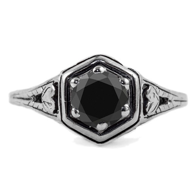 Vintage Style Black Diamond Rings for Women