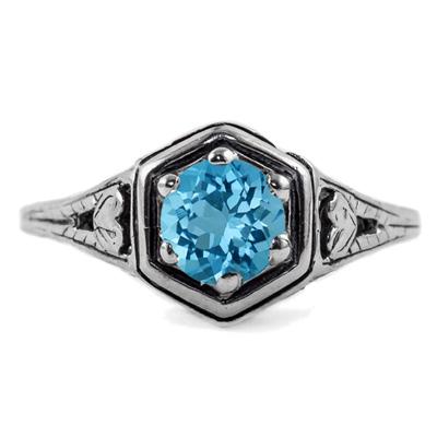 Heart Design Vintage Style Blue Topaz Ring in 14K White Gold