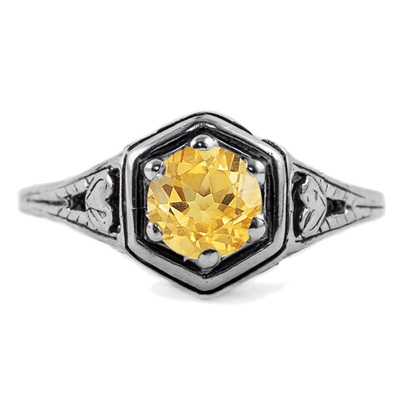 Heart Design Vintage Style Citrine Ring in 14K White Gold