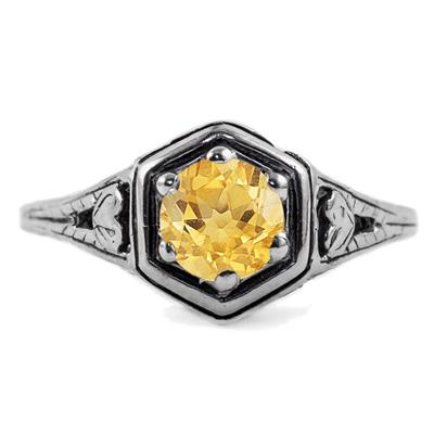 Heart Design Vintage Style Citrine Ring in 14K White Gold