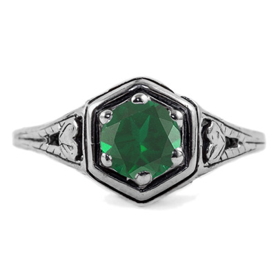 Heart Design Vintage Style Emerald Ring in 14K White Gold