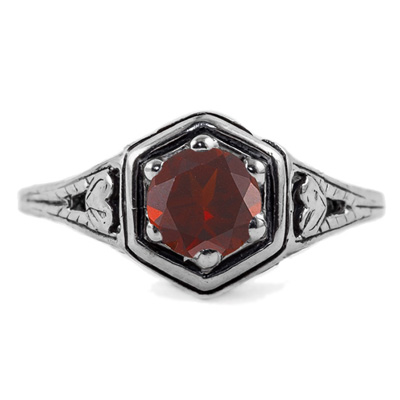 Heart Design Vintage Style Garnet Ring in 14K White Gold