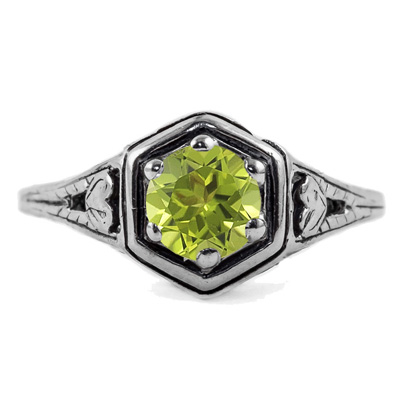 Heart Design Vintage Style Peridot Ring in 14K White Gold