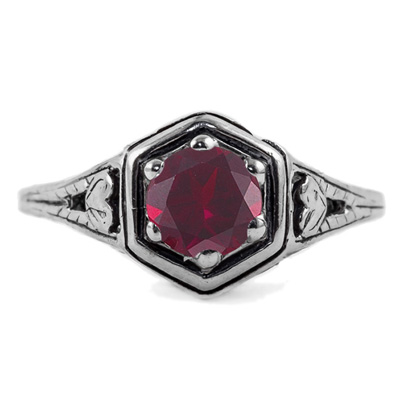 Heart Design Vintage Style Ruby Ring in 14K White Gold