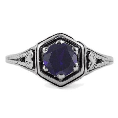 Heart Design Vintage Style Sapphire Ring in 14K White Gold