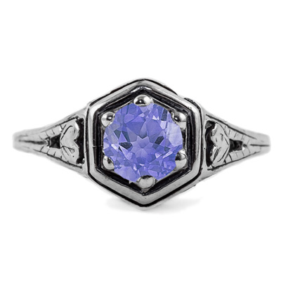 Heart Design Vintage Style Tanzanite Ring in 14K White Gold