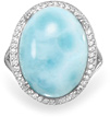 Natural Larimar Ring in Sterling Silver