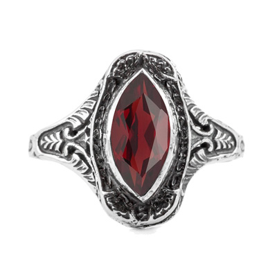 Marquise Cut Garnet Art Deco Style Ring in Sterling Silver