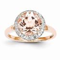 14K Rose Gold Diamond Halo and Morganite Ring