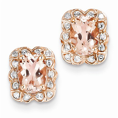 14K Rose Gold Morganite and Diamond Post Earrings