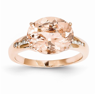14k Rose Gold Oval Morganite Diamond Ring