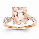 Diamond and Morganite Rectangle Ring in 14K Rose Gold