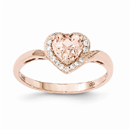 Heart Morganite & Diamond Ring in 14K Rose Gold