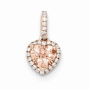 Morganite & Diamond Halo Heart Pendant, 14K Rose Gold