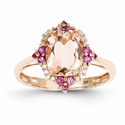 Morganite, Pink Sapphire, and Diamond Ring in 14K Rose Gold