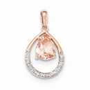 Pear-Shaped Morganite and Diamond Pendant in 14K Rose Gold