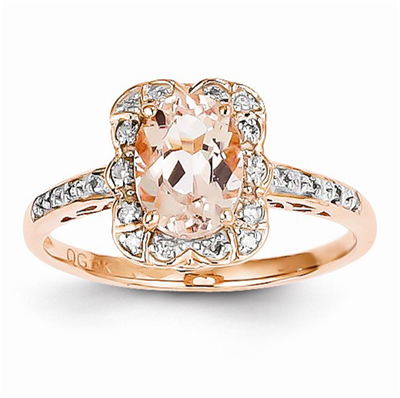 Prong-Set Morganite and Diamond Ring in 14K Rose Gold